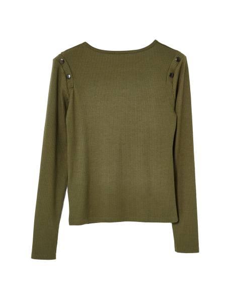 تی شرت نخی یقه گرد زنانه - زيتوني - 2