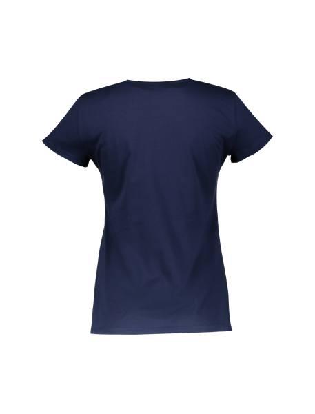 تی شرت نخی یقه گرد زنانه - سرمه اي - 2