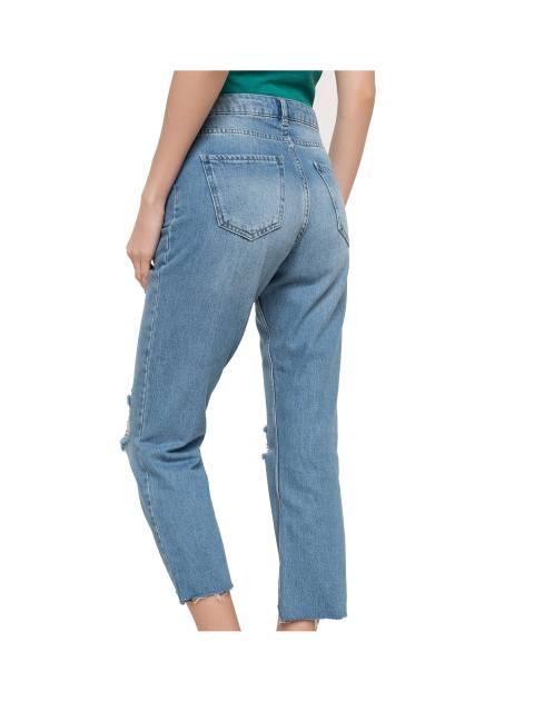 شلوار جین راسته زنانه - آبي - 6