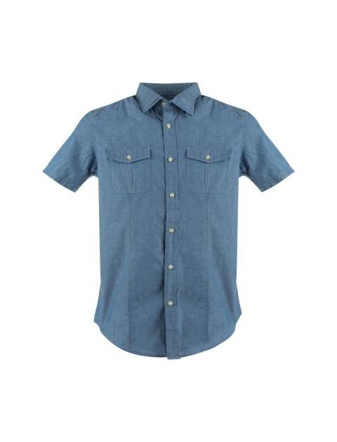 پیراهن نخی آستین کوتاه مردانه - آبي - 1