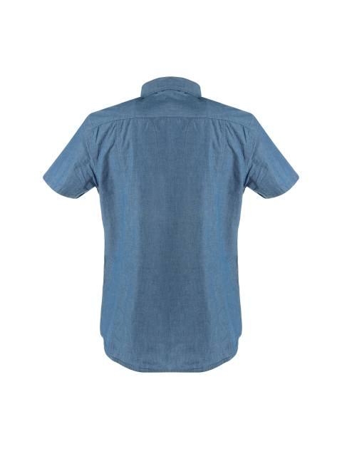 پیراهن نخی آستین کوتاه مردانه - آبي - 2
