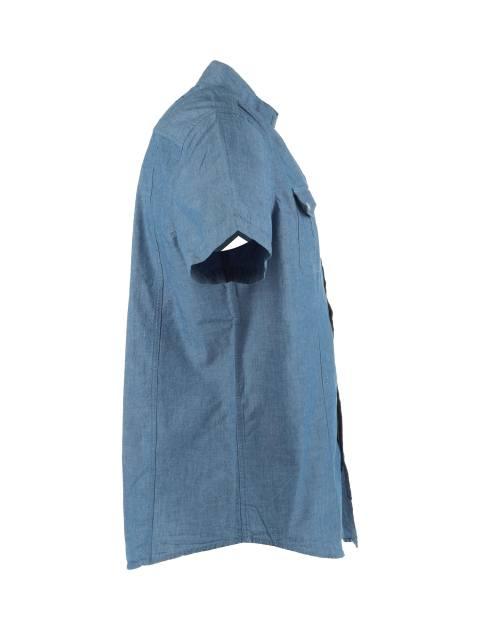 پیراهن نخی آستین کوتاه مردانه - آبي - 3