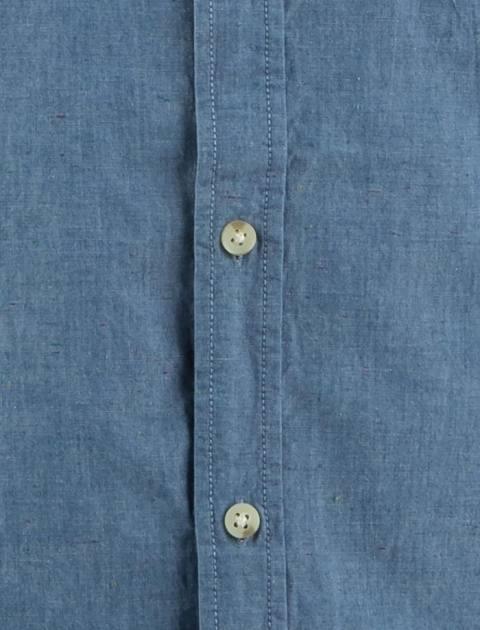 پیراهن نخی آستین کوتاه مردانه - آبي - 5