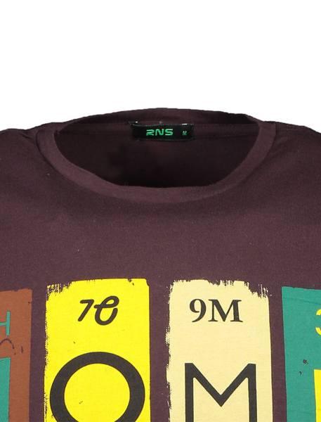 تی شرت نخی یقه گرد مردانه - قهوه اي - 4
