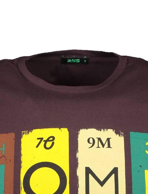 تی شرت نخی یقه گرد مردانه - آر اِن اِس - قهوه اي - 4