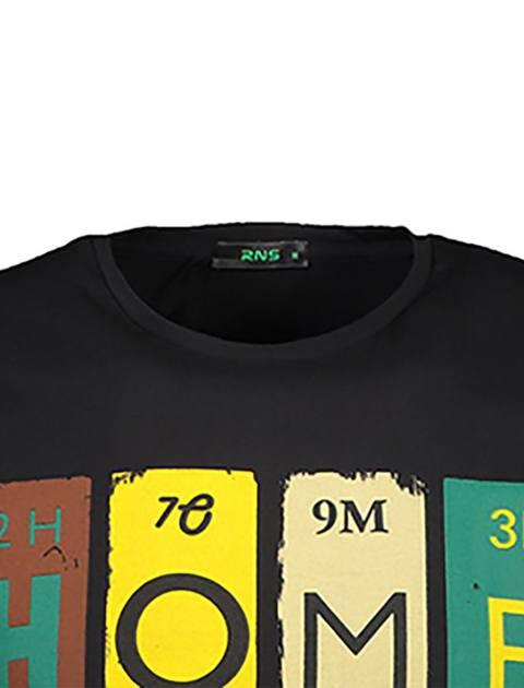 تی شرت نخی یقه گرد مردانه - مشکي - 4