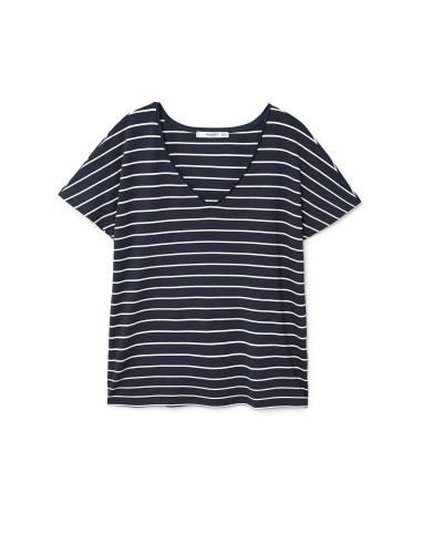 تی شرت ویسکوز یقه هفت زنانه - مانگو