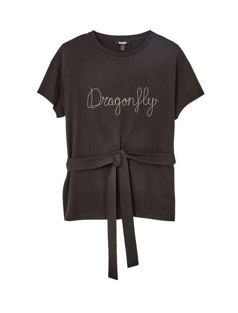 تی شرت نخی یقه گرد زنانه - جنیفر - مشکي - 1