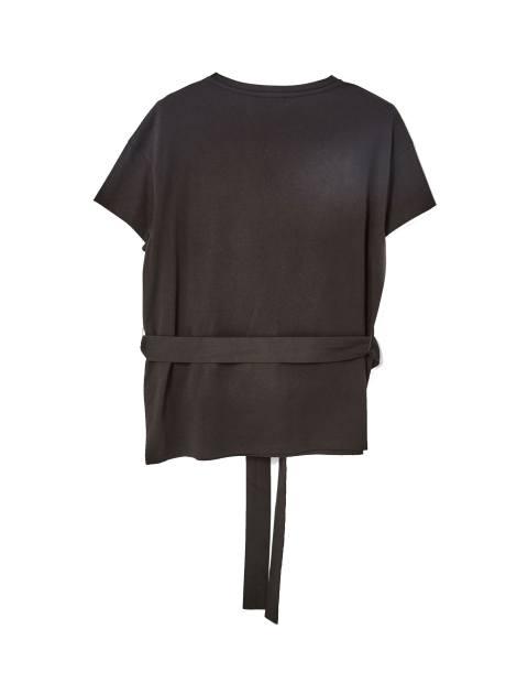 تی شرت نخی یقه گرد زنانه - جنیفر - مشکي - 2