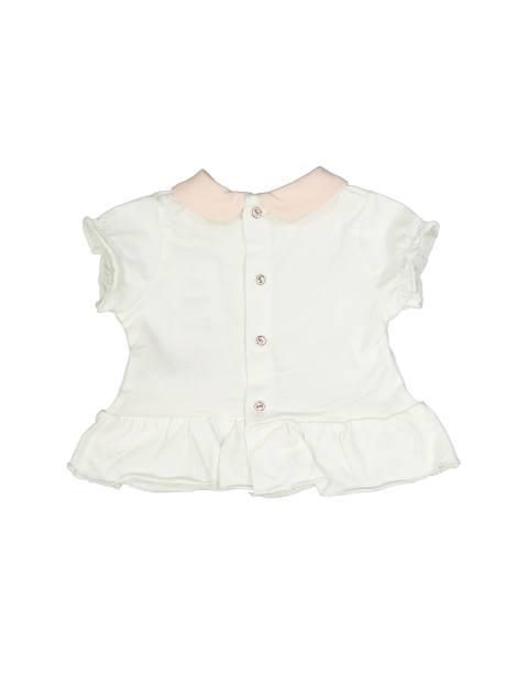 تی شرت و شلوارک نخی نوزادی دخترانه - بلوکیدز - سفيد/صورتي - 3
