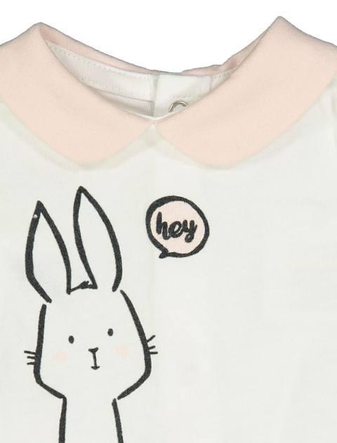 تی شرت و شلوارک نخی نوزادی دخترانه - بلوکیدز - سفيد/صورتي - 4