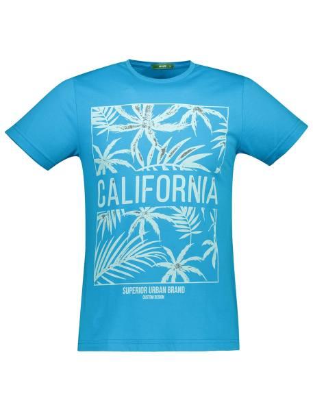 تی شرت نخی یقه گرد مردانه - آبي روشن - 1