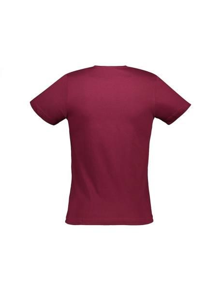 تی شرت نخی یقه گرد مردانه - زرشکي - 2