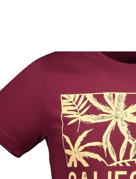 تی شرت نخی یقه گرد مردانه - زرشکي - 4