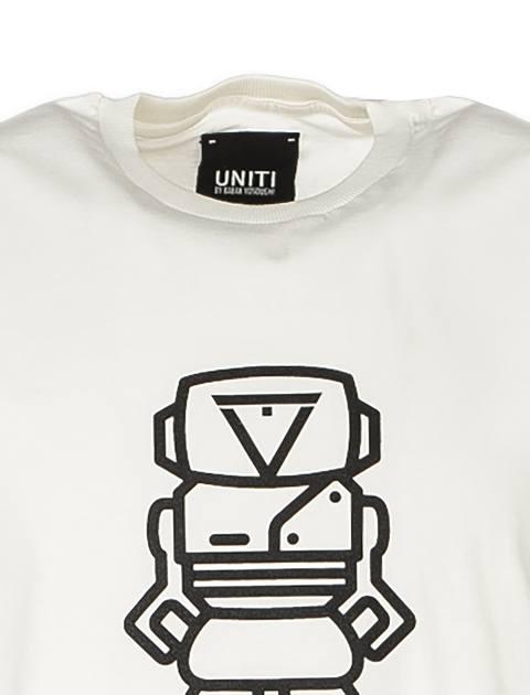 تی شرت نخی یقه گرد مردانه - سفيد - 4