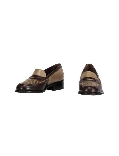 کفش تخت چرم زنانه - شهر چرم - کرم و قهوه اي - 4