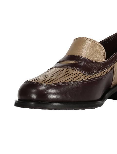 کفش تخت چرم زنانه - شهر چرم - کرم و قهوه اي - 6