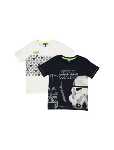 تی شرت نخی یقه گرد پسرانه بسته دو عددی