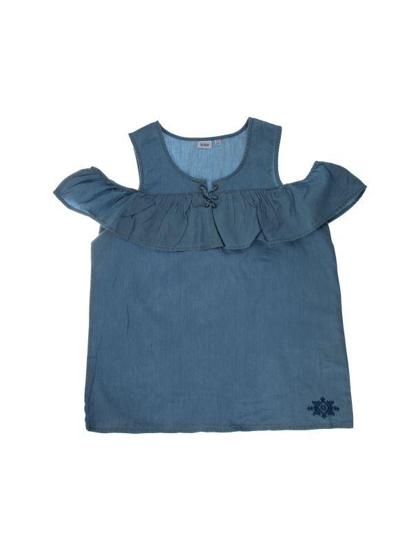 تی شرت نخی یقه باز دخترانه