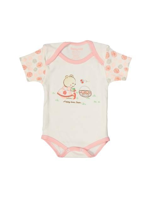 ست 3 تکه نخی نوزادی دخترانه - استخواني صورتي - 2