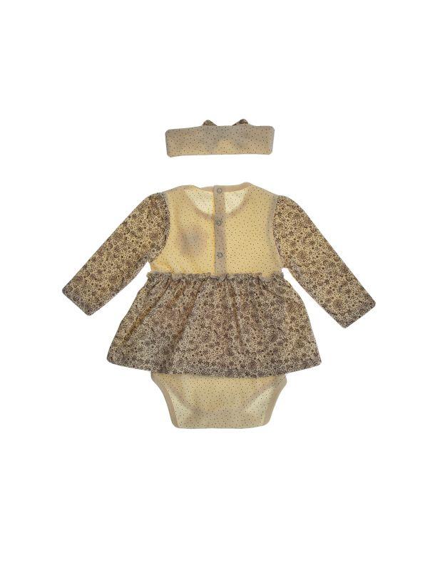 پیراهن نخی آستین بلند نوزادی دخترانه - بی بی ناز