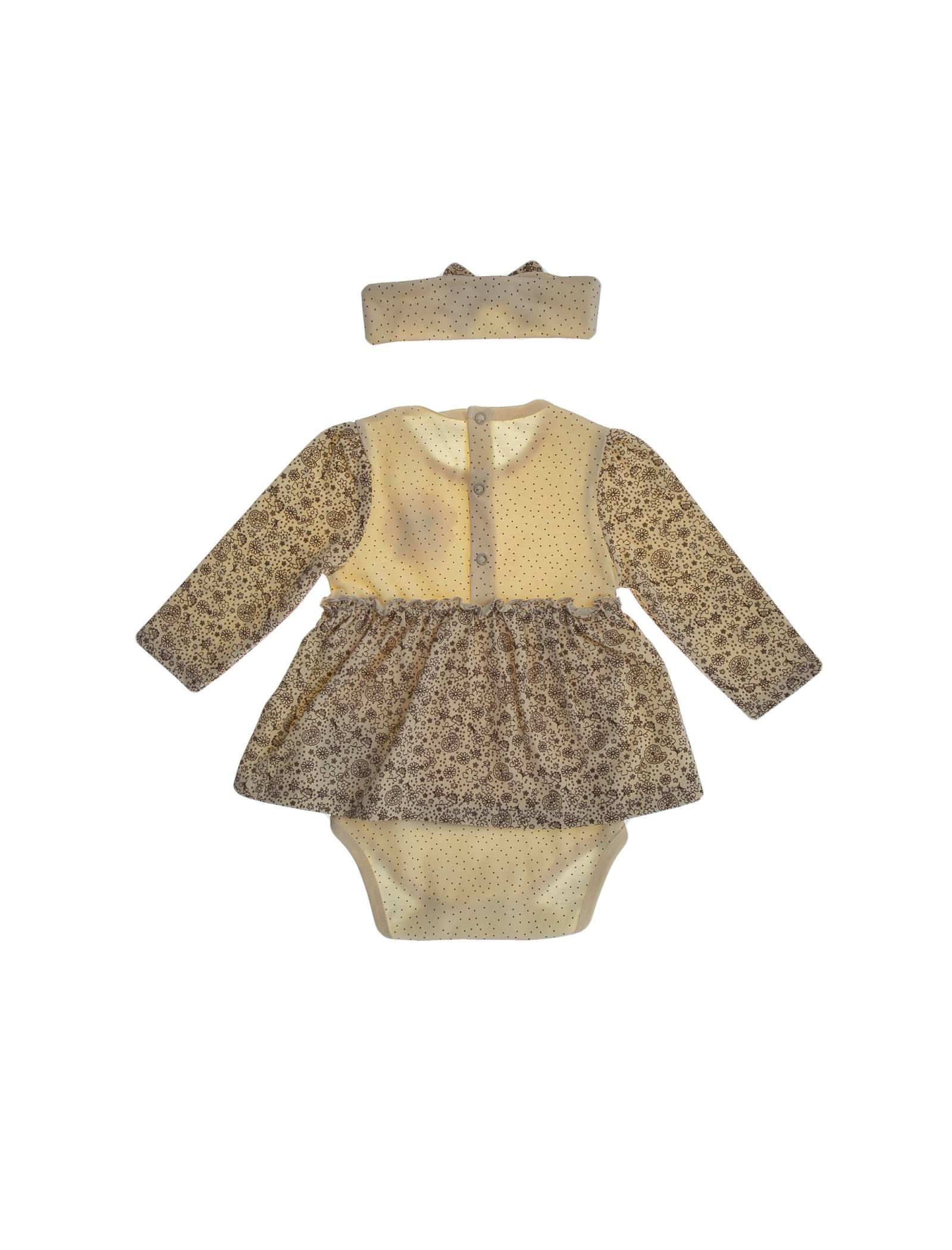 پیراهن نخی آستین بلند نوزادی دخترانه - بی بی ناز - کرم و قهوه اي - 2
