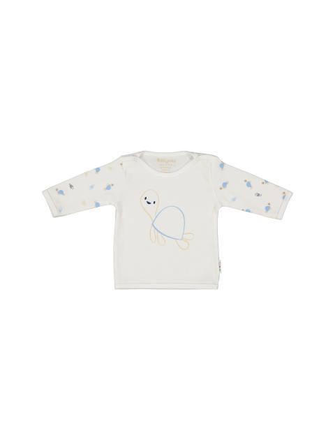 تی شرت نخی طرح دار - سفيد - 1
