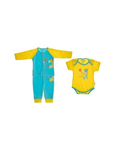 ست 3 تکه نخی نوزادی - زرد آبي - 2