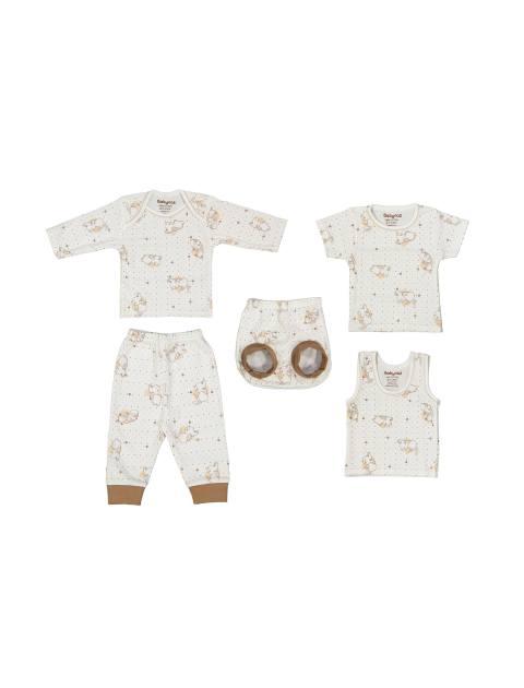 ست 5 تکه نوزادی - سفيد و قهوه اي - 1