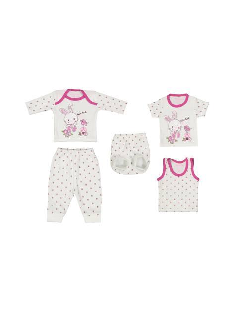 ست 5 تکه نوزادی دخترانه - سفيد و سرخابي - 1