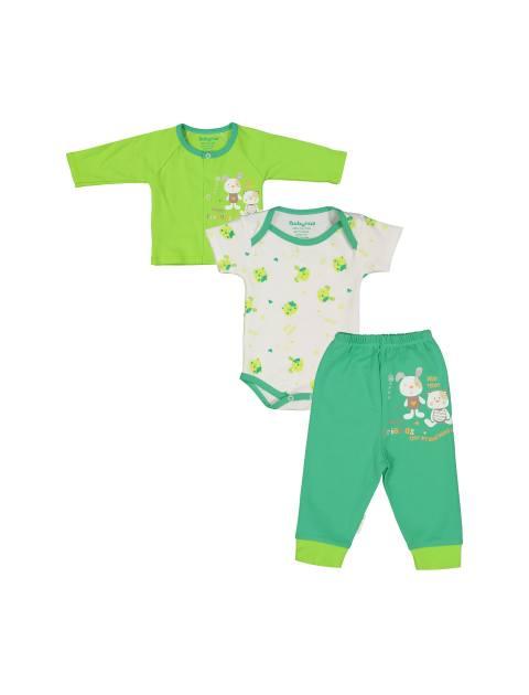ست 3 تکه نخی نوزادی - سفيد سبز - 1