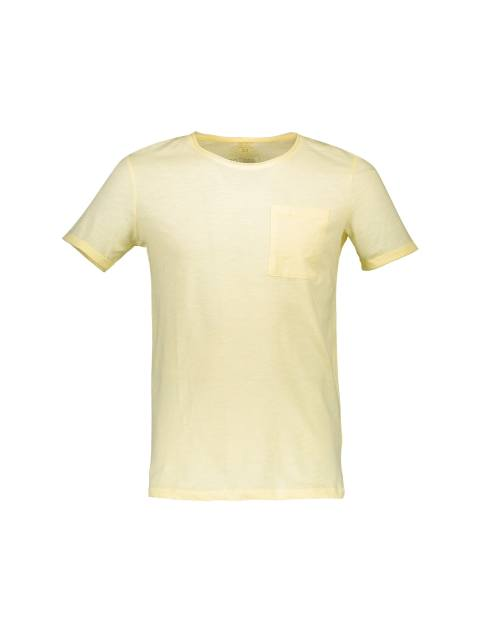 تی شرت نخی یقه گرد مردانه - دفکتو - زرد  - 1