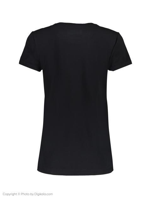 تی شرت نخی یقه گرد زنانه - مشکي - 4